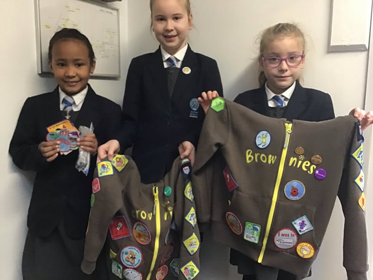 Girls with Brownie badges
