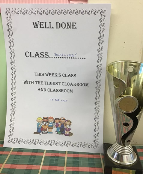 Tidiest Class certificate and cup