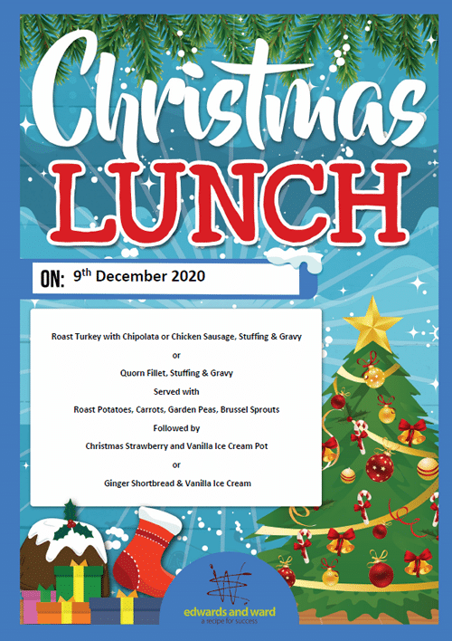 Christmas lunch menu Dec 2020