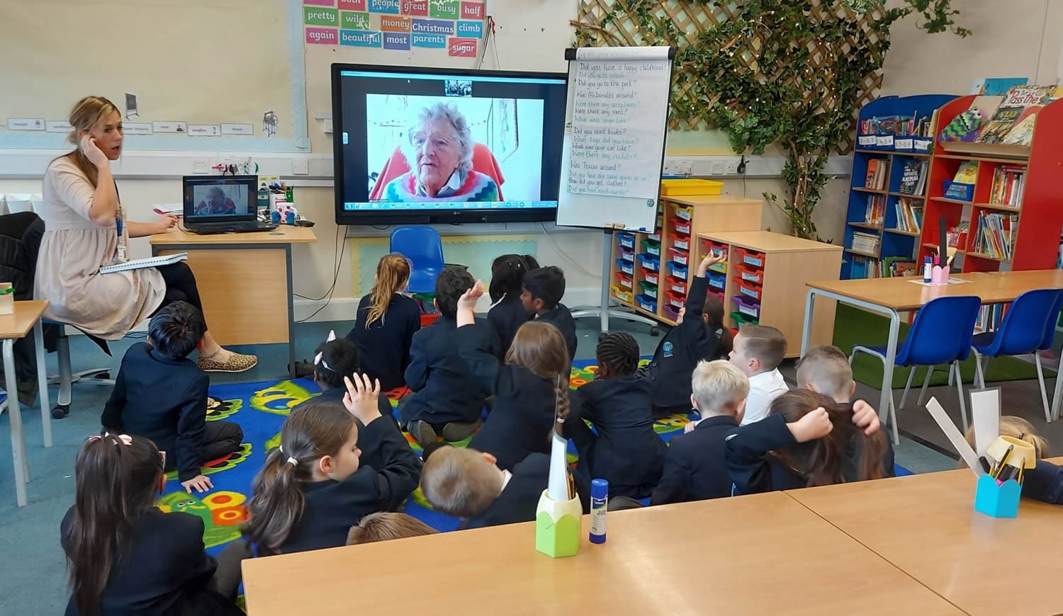 Dove class asking questions remotely