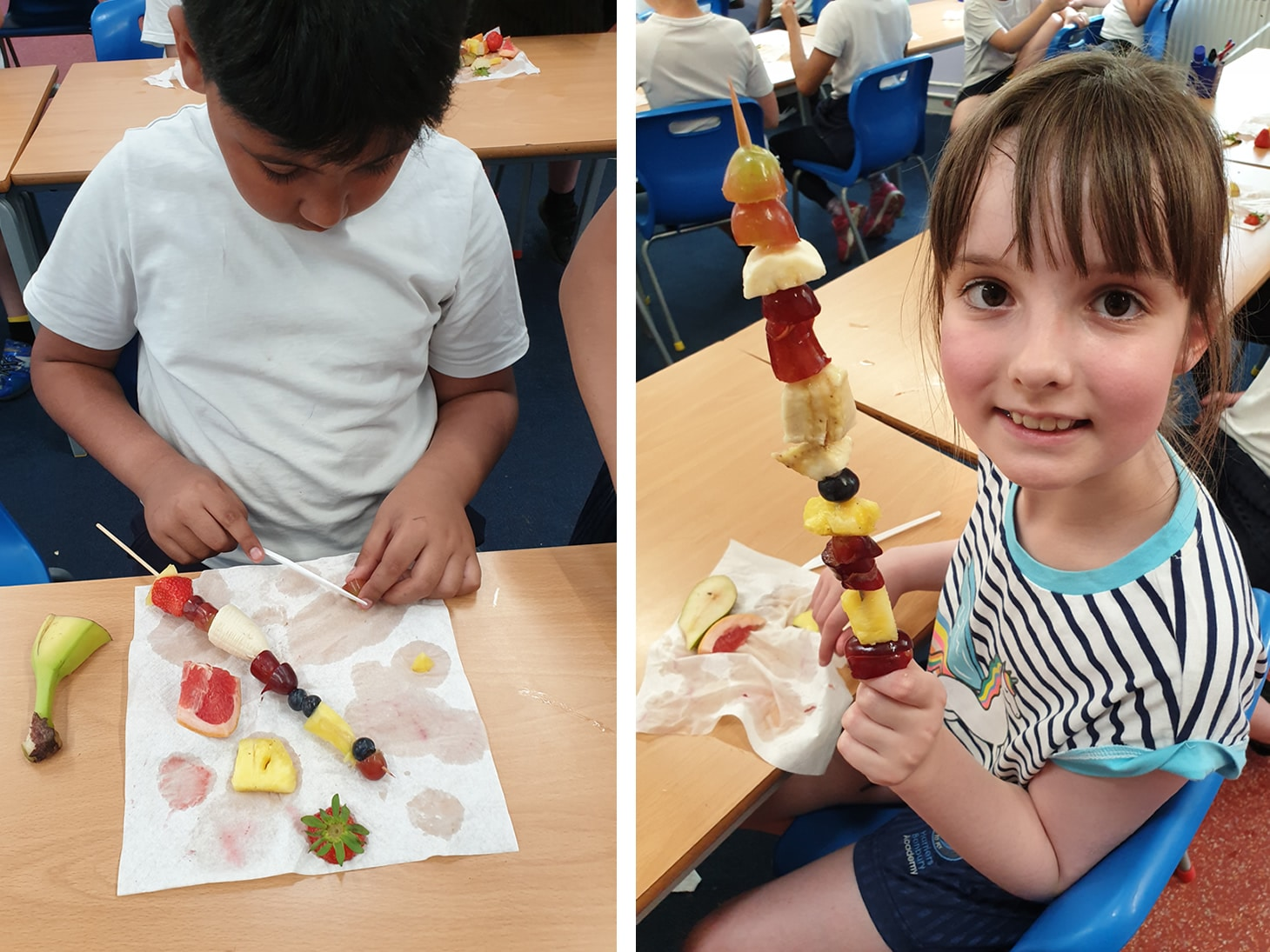 Pupils preparing and trying different types of fruit