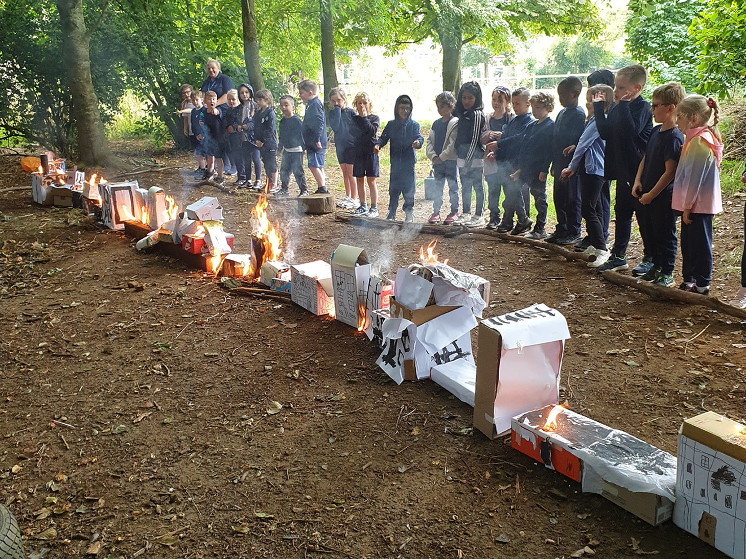 Great Fire of London burning replicas